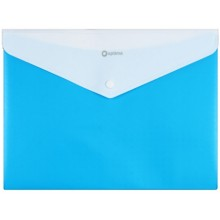 Папка-конверт пластиковая на кнопке с двумя отделениями «Вышиванка», толщина пластика 0,18 мм, голубая