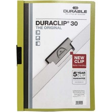 Папка пластиковая с клипом Durable Duraclip, А4, 30 л., зеленая