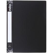 Папка пластиковая с боковым зажимом и карманом Index Satin, толщина пластика 0,6 мм, черная