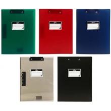 Папка пластиковая с боковым зажимом и верхним прижимом МАМ ТД, толщина пластика 0,55 мм, ассорти