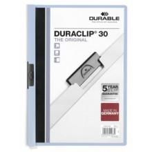 Папка пластиковая с клипом Durable Duraclip, А4, 30 л., голубая