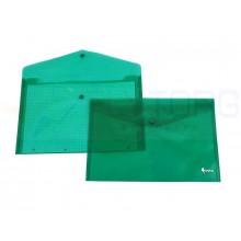Папка-конверт пластиковая на кнопке Forpus, толщина пластика 0,16 мм, прозрачная зеленая