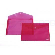 Папка-конверт пластиковая на кнопке Forpus, толщина пластика 0,16 мм, прозрачная красная