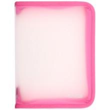 Папка пластиковая на молнии Economix, толщина пластика 0,5 мм, прозрачная с розовым