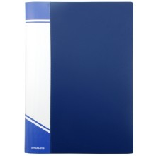 Папка пластиковая на 20 файлов inФормат, толщина пластика 0,5 мм, синяя