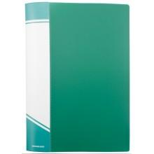 Папка пластиковая на 20 файлов inФормат, толщина пластика 0,5 мм, зеленая