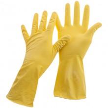 Перчатки резиновые хозяйственные OfficeClean Стандарт+, супер прочные, р.L, желтые, пакет с европодвесом