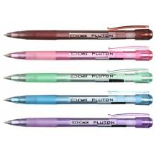 Ручка шариковая автоматическая Pluton, корпус ассорти, стержень синий
