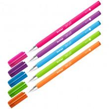 """Ручка шариковая Berlingo """"Starlight"""", синяя, 0,7мм, игольчатый стержень, прорезиненный корпус ассорти"""