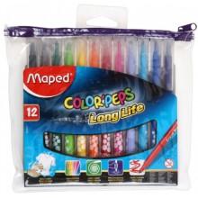 Фломастеры Maped Color Peps, 12 цветов, толщина линии 1-3 мм, вентилируемый колпачок, в ПЭТ-пенале