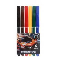 Фломастеры «Мир скорости», 6 цветов, толщина линии 1-2 мм, вентилируемый колпачок