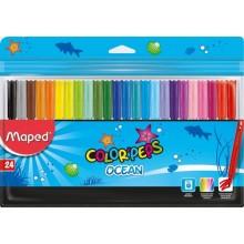 Фломастеры Maped Color Peps Ocean суперсмываемые, 24 цвета, толщина линии 1-2 мм, вентилируемый колпачок