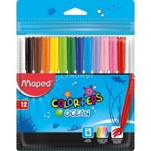 Фломастеры Maped Color Peps Ocean суперсмываемые, 12 цветов, толщина линии 1-2 мм, вентилируемый колпачо