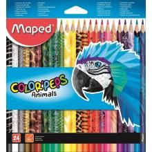 Карандаши цветные Maped Color peps Animals, 24 цвета, длина 175 мм. трехгран.