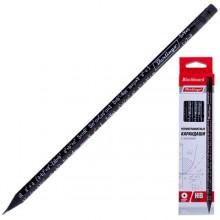 Карандаш чернографитный Berlingo Blackboard, твердость грифеля HB, с ластиком, черный с рисунком