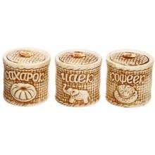 Набор для специй керамический, 3 предмета, «Чаёк-кофеёк-сахарок тертый» (высота 9 см)