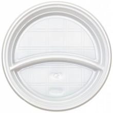 Тарелка одноразовая пластиковая «Мистерия», двухсекционная, диаметр 20,5 см, белая. упаковка 100 шт.