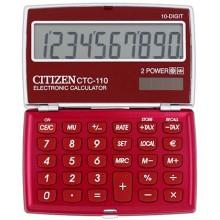 Калькулятор карманный 10-разрядный Citizen CTC-110, красный