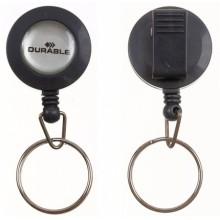 Держатель для бейджа с клипом и кольцом Durable, пластиковый клип, серый