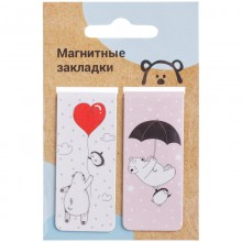 "Закладки магнитные для книг 25*58мм, 2шт., MESHU ""Bear&friends"""
