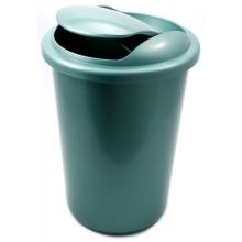 Корзина для бумаг цельная с крышкой, 12 л, зеленая