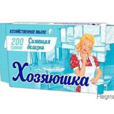 """Мыло хозяйственное 65%  """"Хозяюшка"""" сияющая белизна для стирки белого белья, 200 гр"""