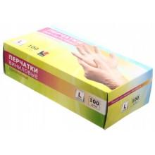 Перчатки виниловые одноразовые А.D.M., размер L, 50 пар (100 шт.), прозрачные
