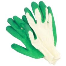 Перчатки хлопчатобумажные с латексным покрытием, однослойный латекс, зеленый