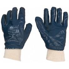 Перчатки хлопчатобумажные с нитриловым покрытием «Гловерс-К», синие с белым