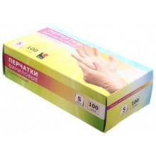 Перчатки виниловые одноразовые А.D.M., размер S, 50 пар (100 шт.), прозрачные