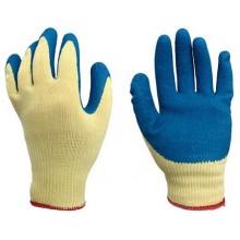 Перчатки хлопчатобумажные с латексным покрытием, однослойный латекс, синий