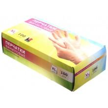 Перчатки виниловые одноразовые А.D.M., размер XL, 50 пар (100 шт.), прозрачные