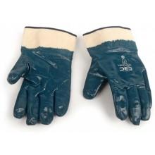 Перчатки хлопчатобумажные с нитриловым покрытием, бело-синие