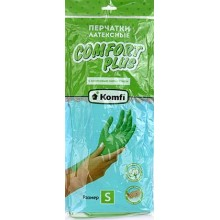 Перчатки латексные Komfi Comfort Plus, размер S, зеленые