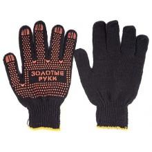 Перчатки трикотажные, трикотаж, черные, пятинитевые, «Профи»
