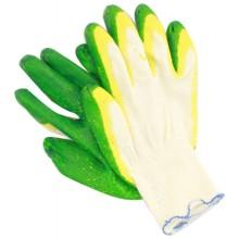 Перчатки хлопчатобумажные с латексным покрытием, двухслойный латекс, зеленый и желтый