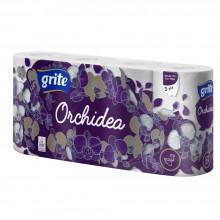 """Бумага туалетная """"ORCHIDEA"""", 3 слоя, 8 рулонов, 21.25 м"""