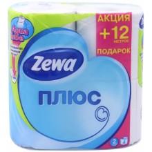 Бумага туалетная Zewa Плюс, 4 рулона, ширина 90 мм, белая
