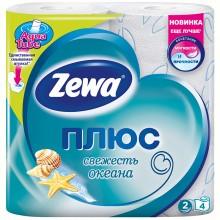 Бумага туалетная Zewa «Плюс», 4 рулона, ширина 90 мм, «Свежесть океана», белая с рисунком