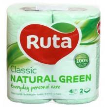 Бумага туалетная Ruta Classic, 4 рулона, ширина 190 мм, зеленая