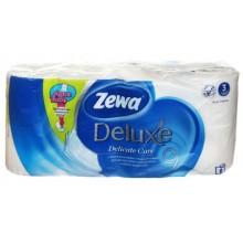 Бумага туалетная Zewa Deluxe, 8 рулонов, ширина 95 мм, Pure White, белая