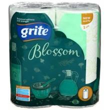 Полотенца бумажные Grite Blossom (в рулоне), 2 рулона, ширина 220 мм, белые с рисунком