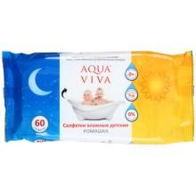 Салфетки влажные детские Aqua Viva, 60 шт., «Ромашка»