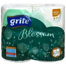 Бумага туалетная Grite Blossom, 4 рулона, ширина 90 мм, белая с рисунком