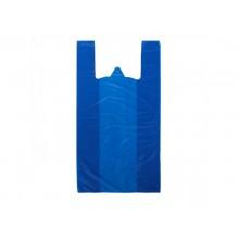 Пакет-майка, 39+18×60 см, 20 мкм, синяя