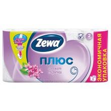 Бумага туалетная Zewa Плюс аромат сирени 2 слойные, 8 рулонов